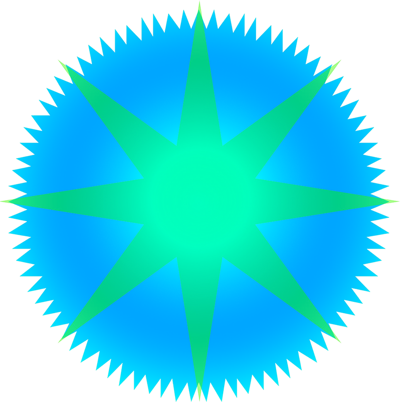 green blue star graphic