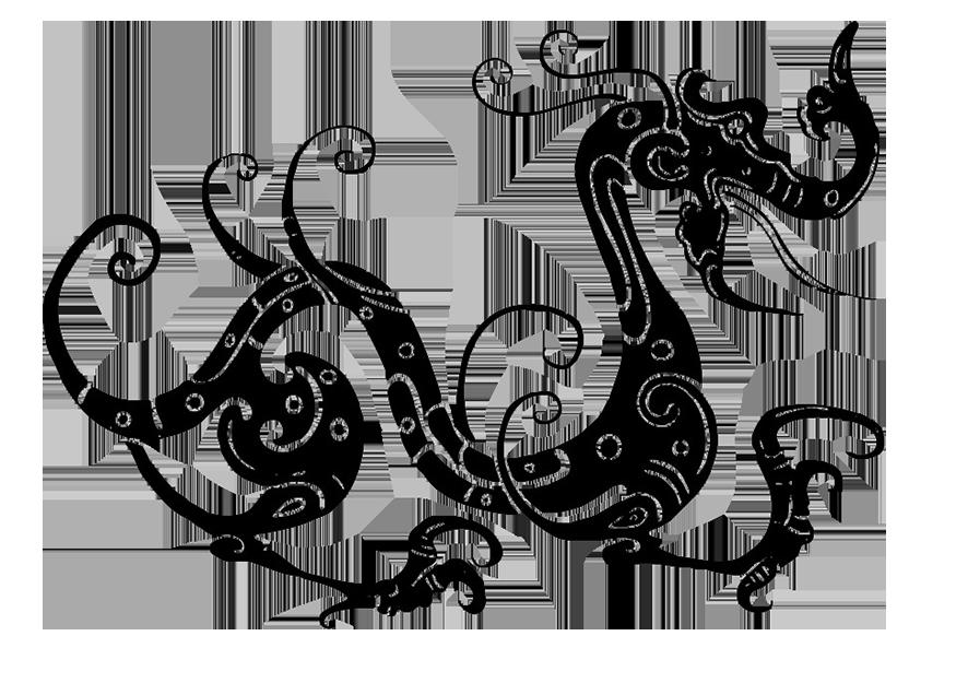 swirl dragon silhouette clipart