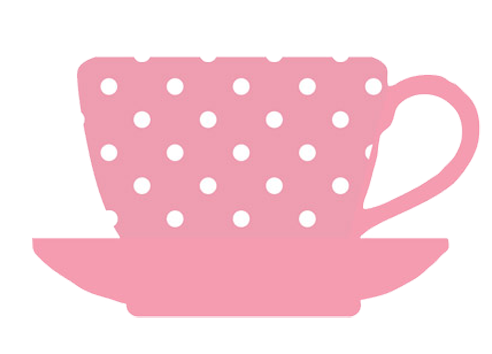 tea cup pink white dots