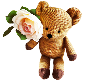Teddy bear clip art with pink rose