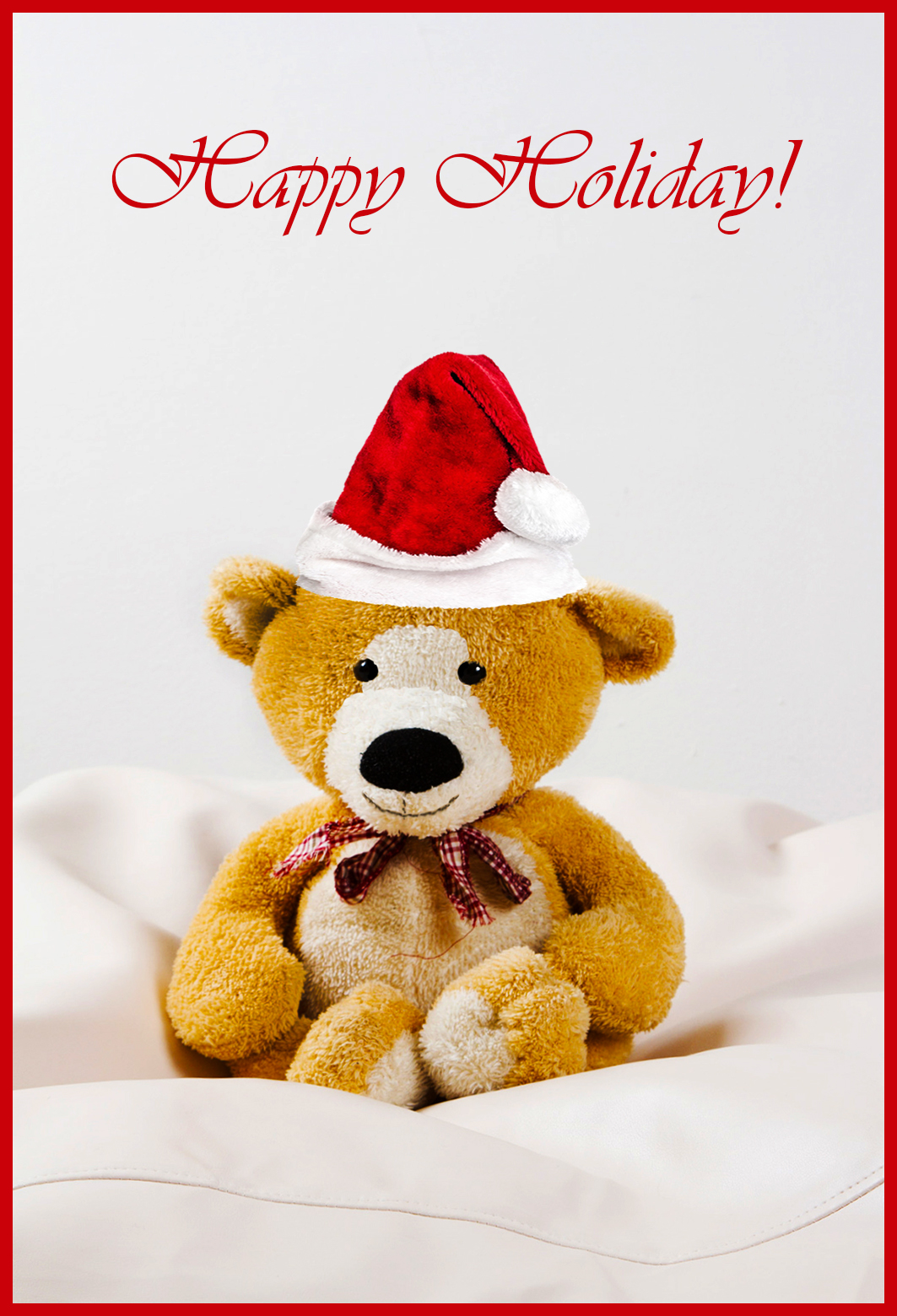 printable happy holiday card with cute Teddy bear