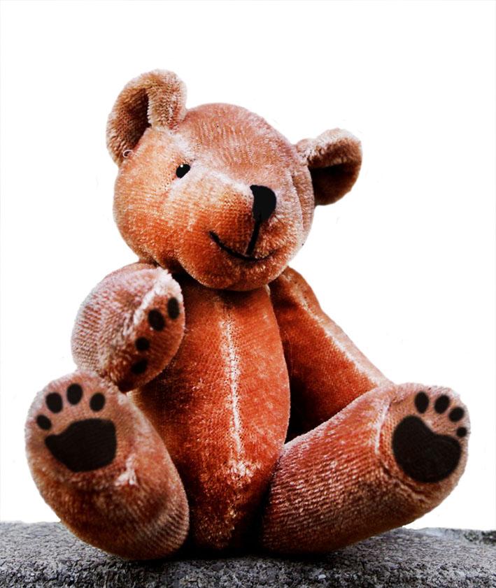 teddy bear sitting on rock