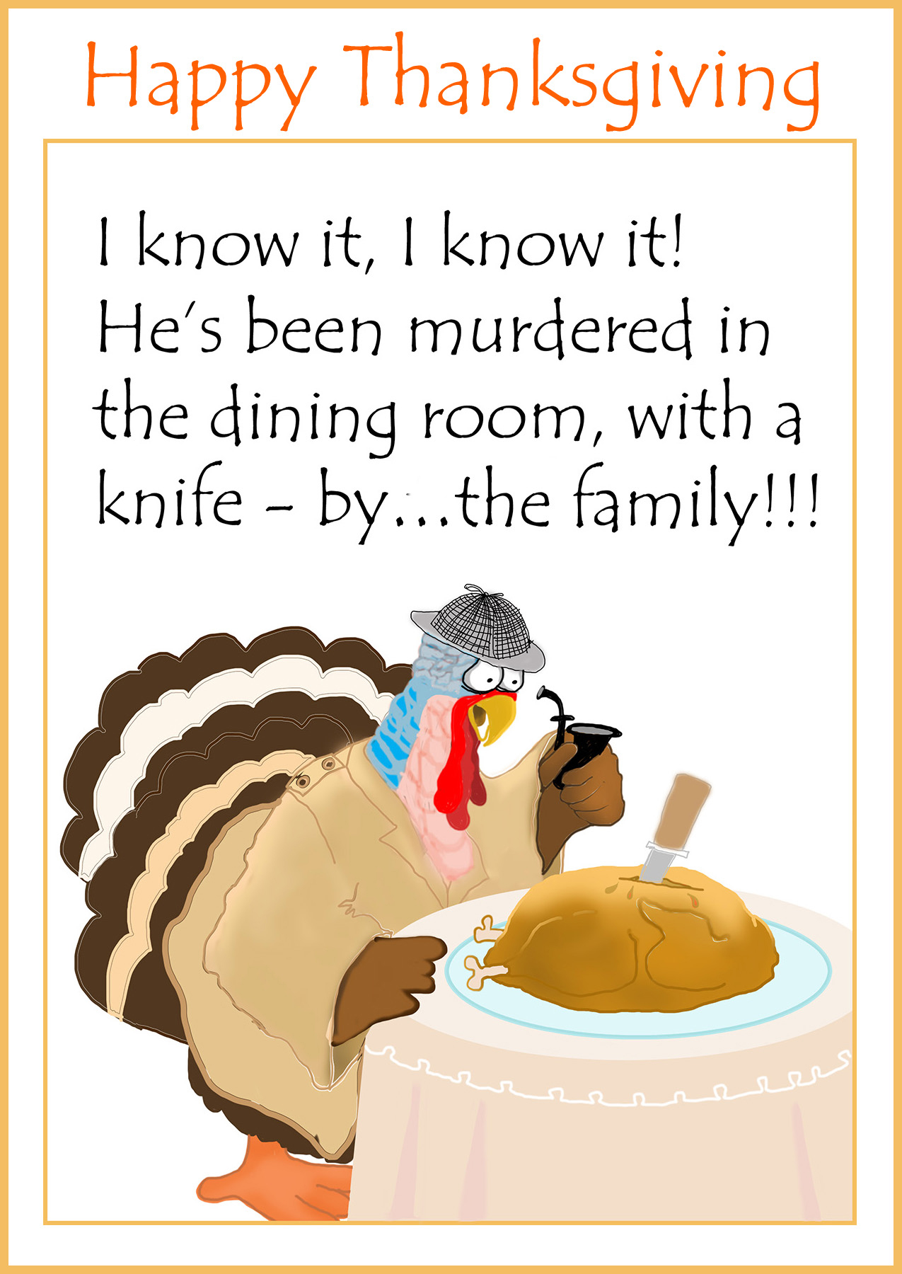 funny thanksgiving card with cluedo motif