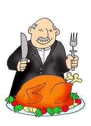 Granddad with turkey dinner thanksgiving