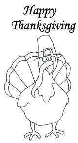 happy thanksgiving turkey bird black white