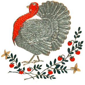 silver turkey and leaves