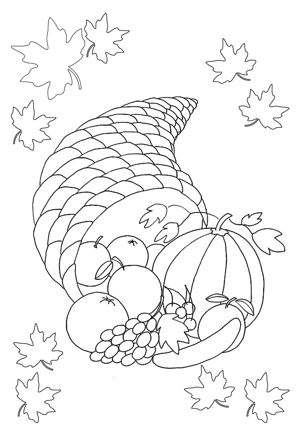 Turkey Bird Thanksgiving Coloring Pages Horn Of Plenty With Fruits And Pumpkin For