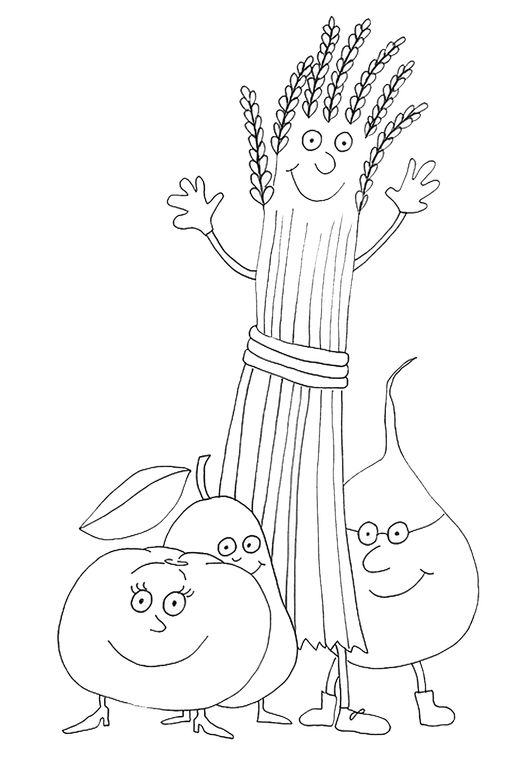 Vegetables for Thanksgiving coloring page