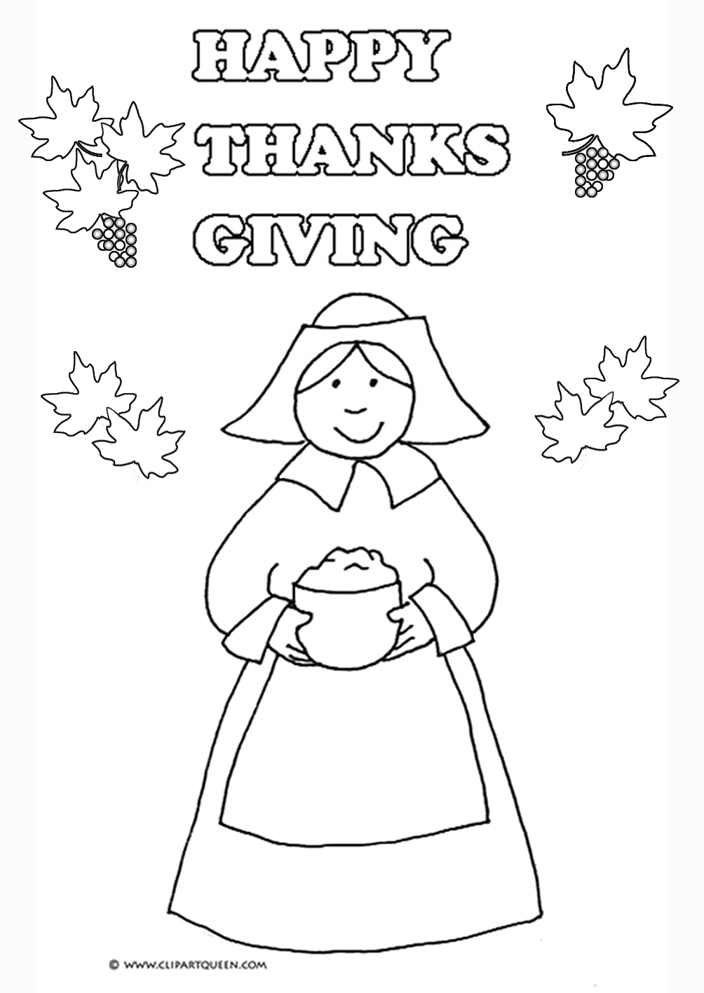 Thanksgiving Coloring Page Woman With Porridge