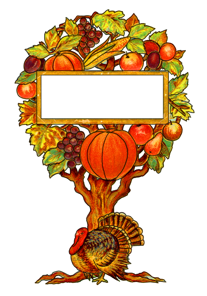 Thanksgiving tree with turkey and fruits