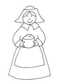 pilgrim woman black white clipart