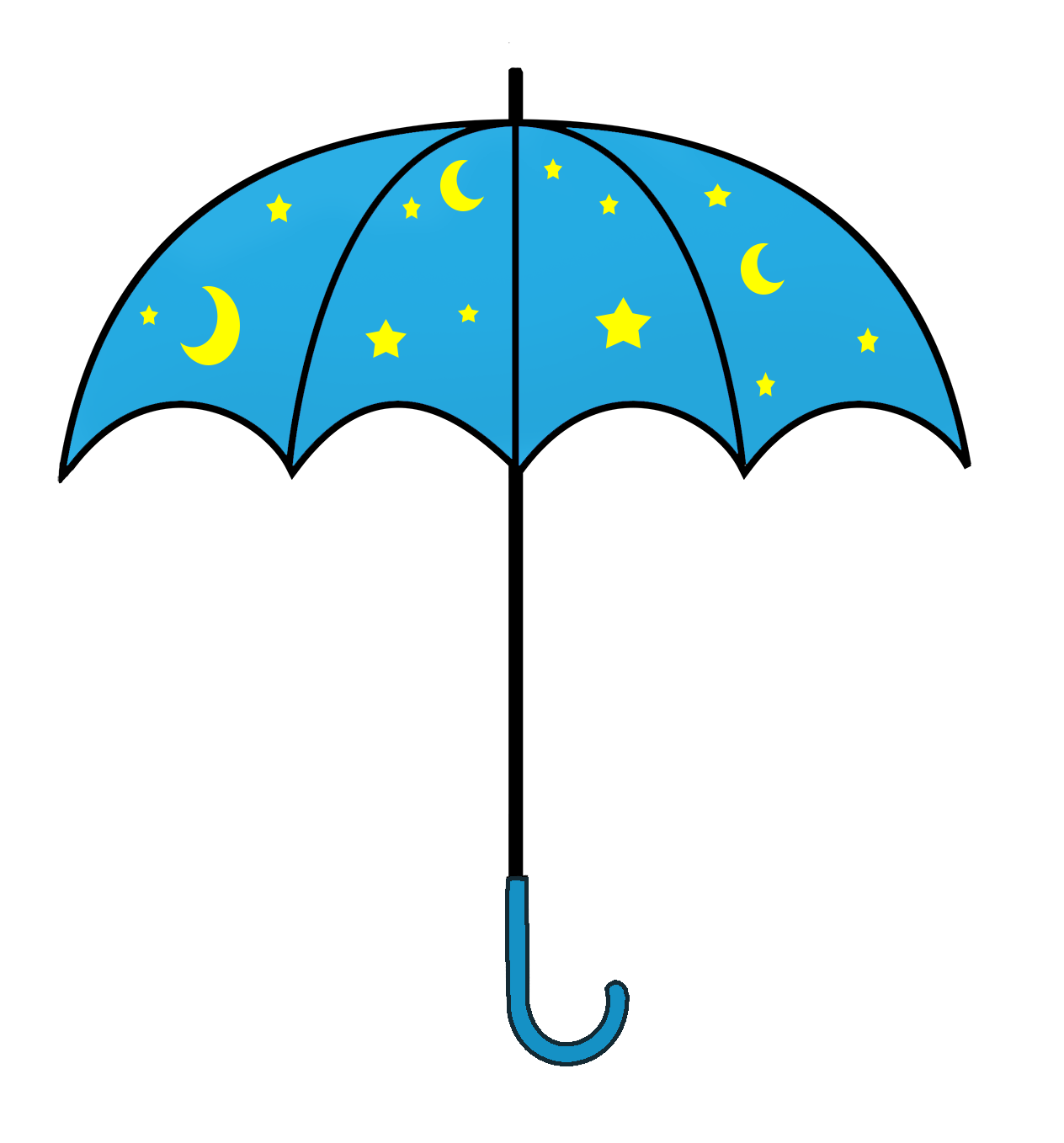 The Sandman's umbrella with stars and moon
