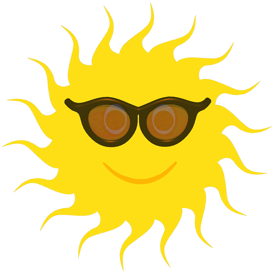 Yellow sun black sunglasses