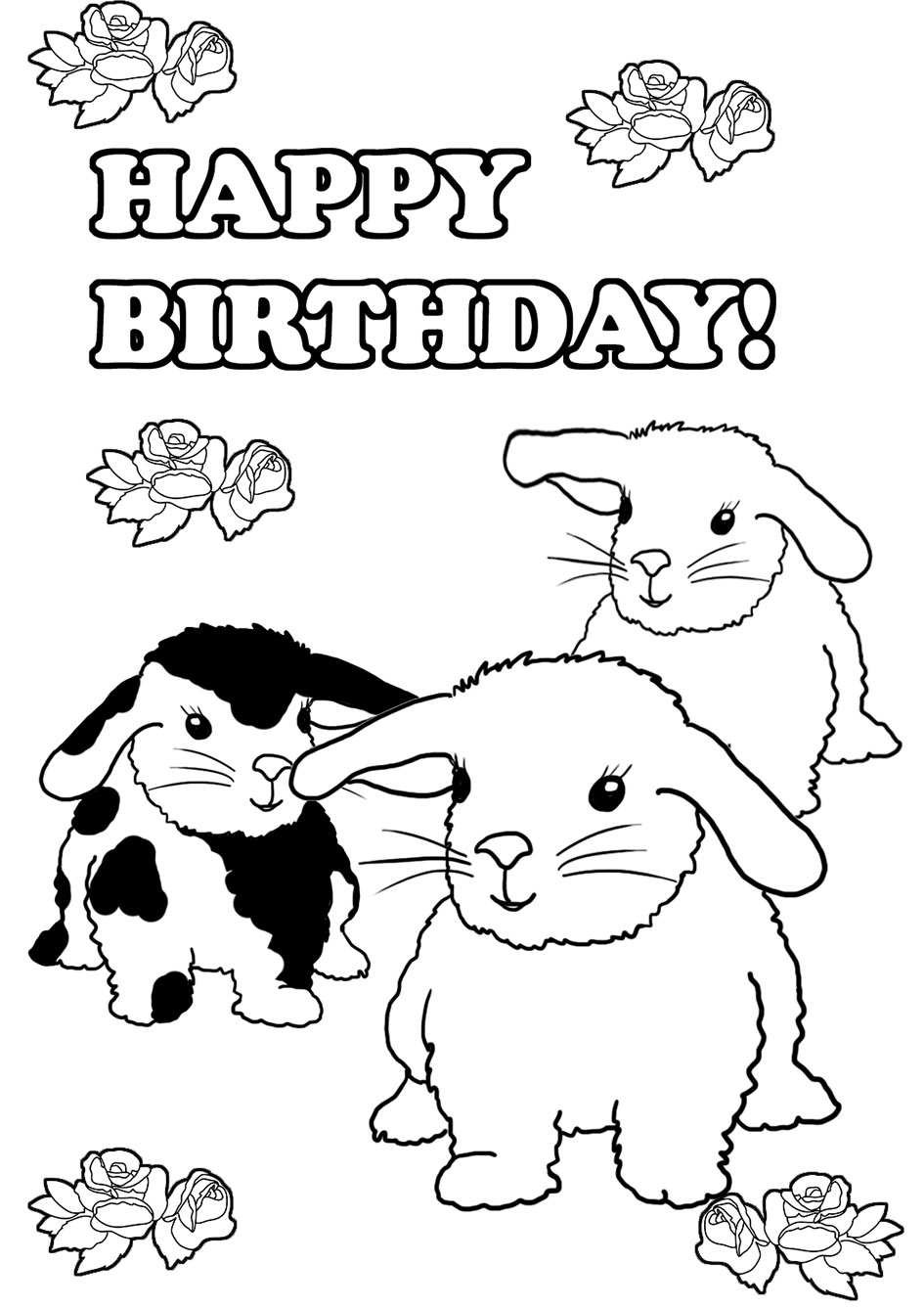 coloring page to print bunnies birthday ...