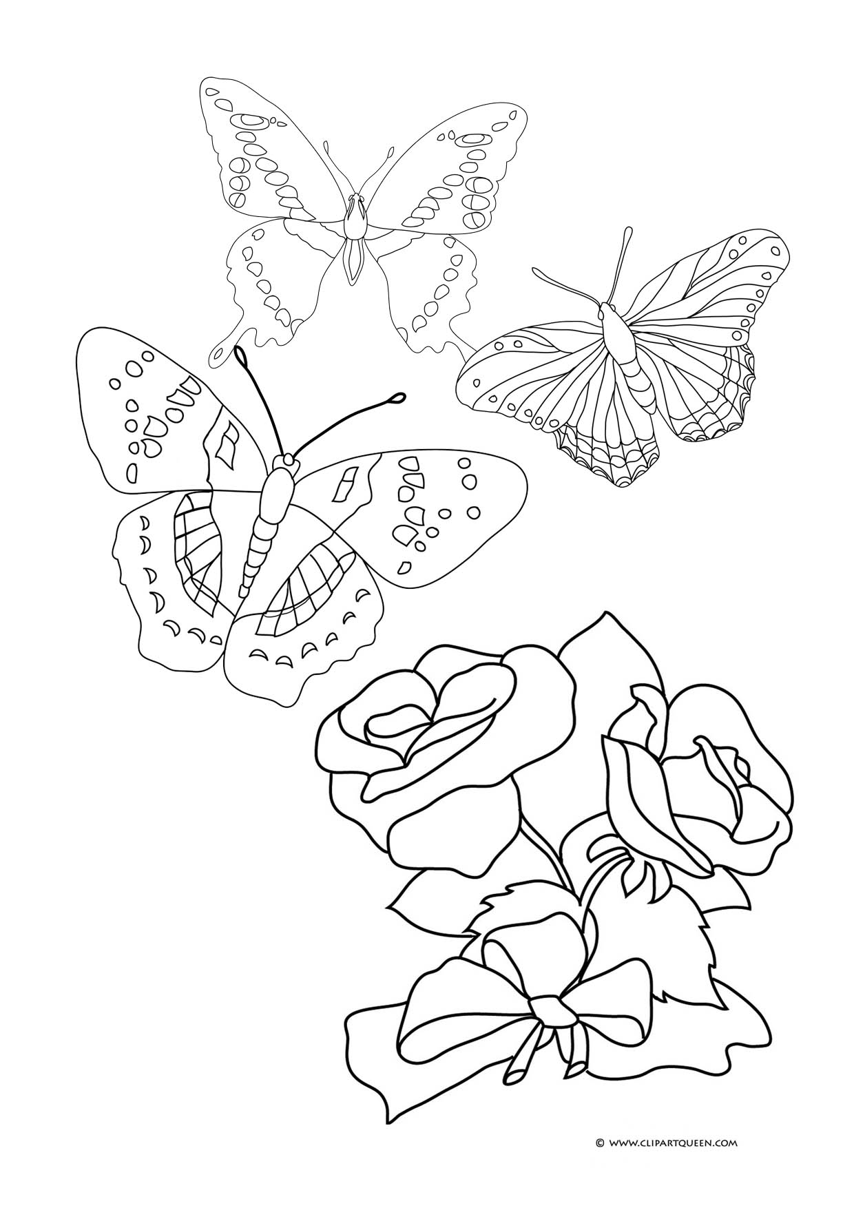 butterflies and roses to color