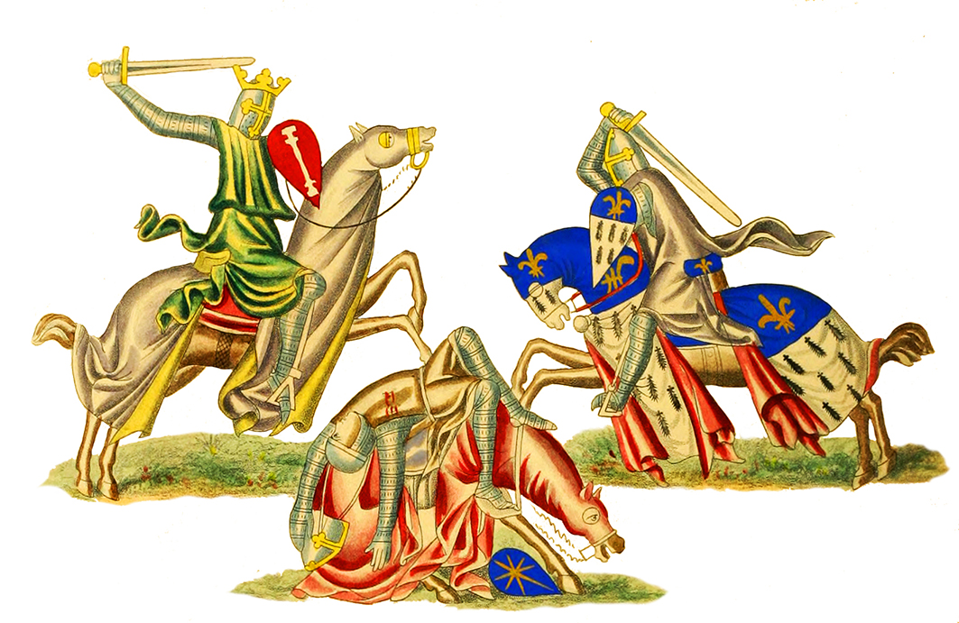 Medieval time knights fighting