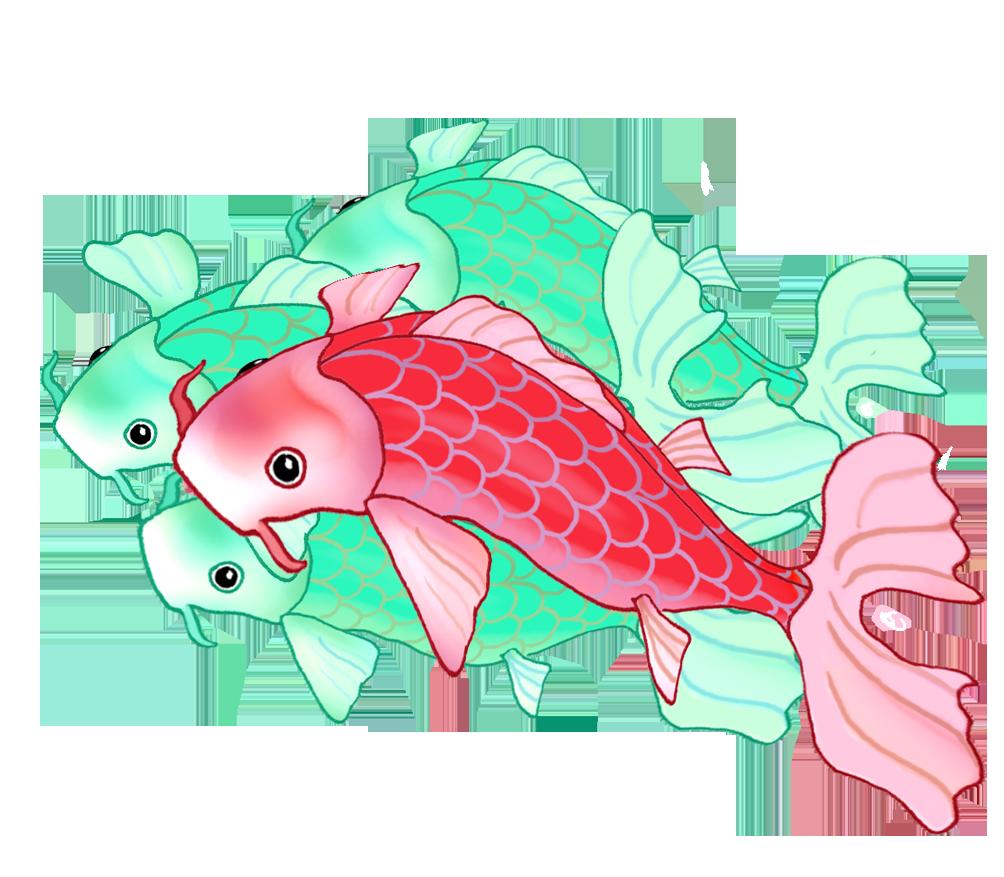 three green one red koi fish