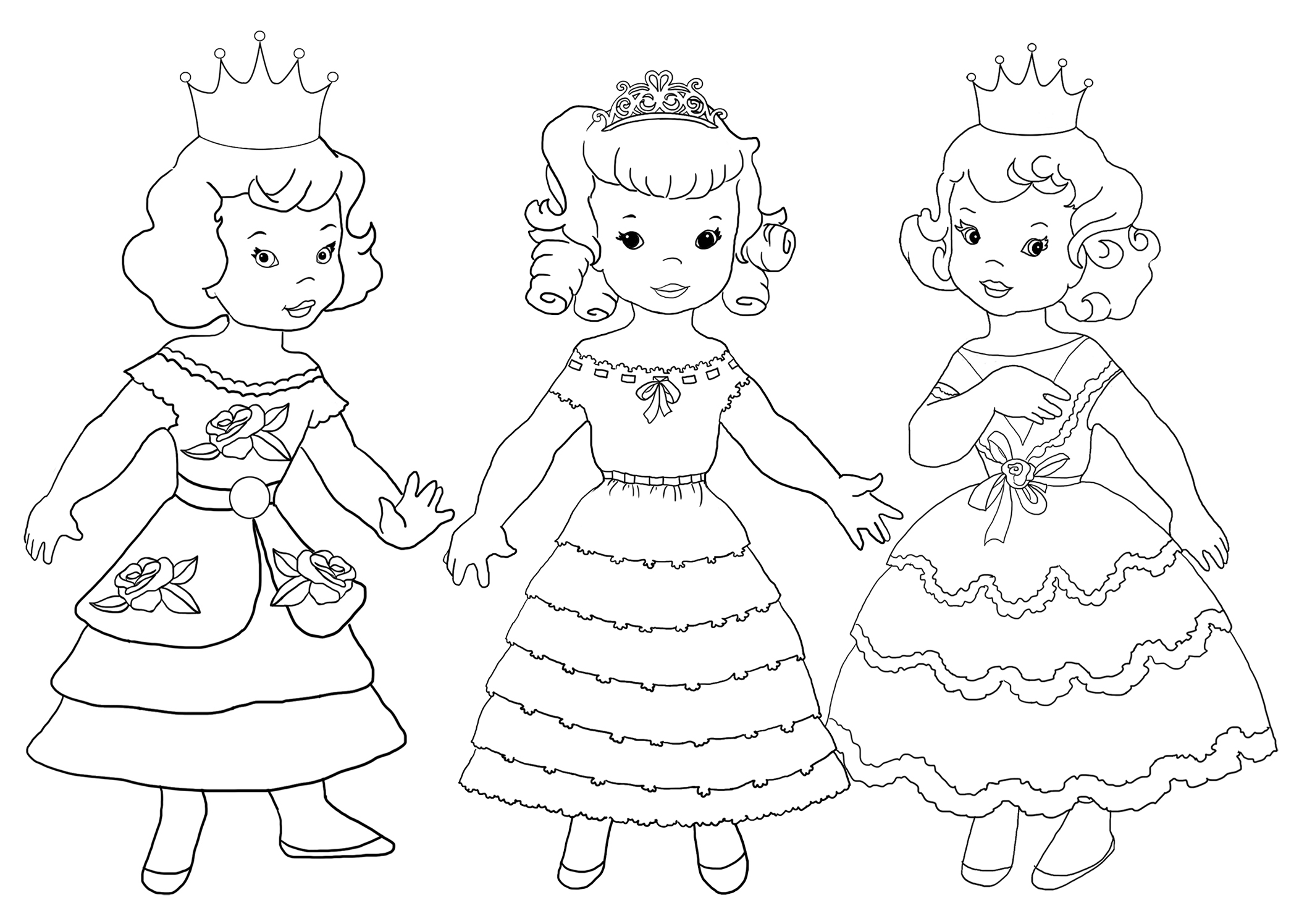 three princesses to color