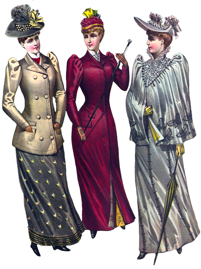 ladies Victorian style fashionable dresses