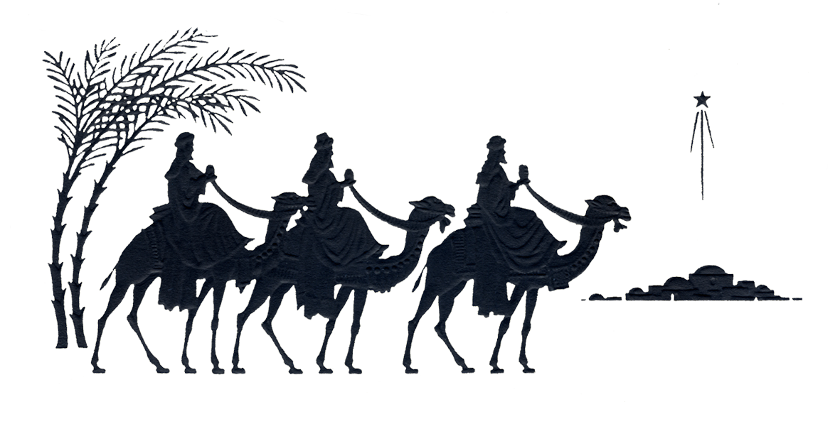 three wise men and Bethlehem silhouette