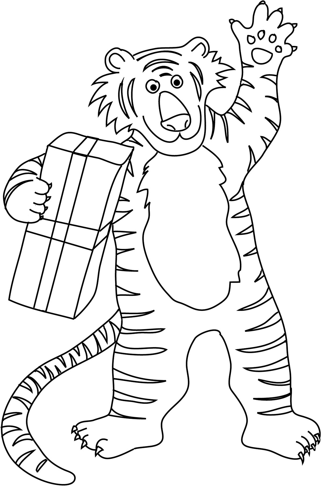 tiger coloring sheet with present