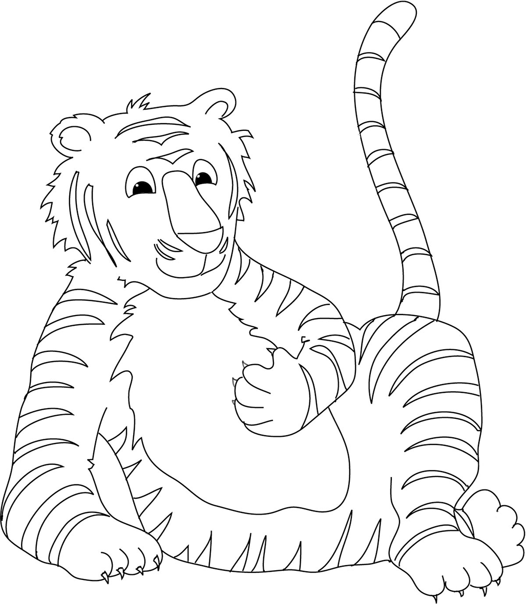 tiger coloring page resting tiger