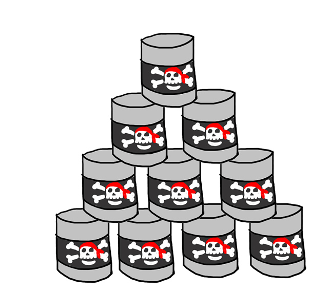 pirate birthday game topple tins