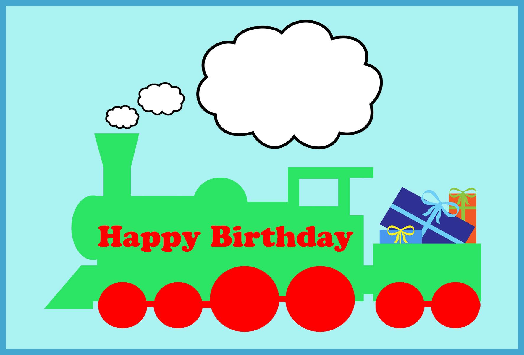 train birthday card with presents
