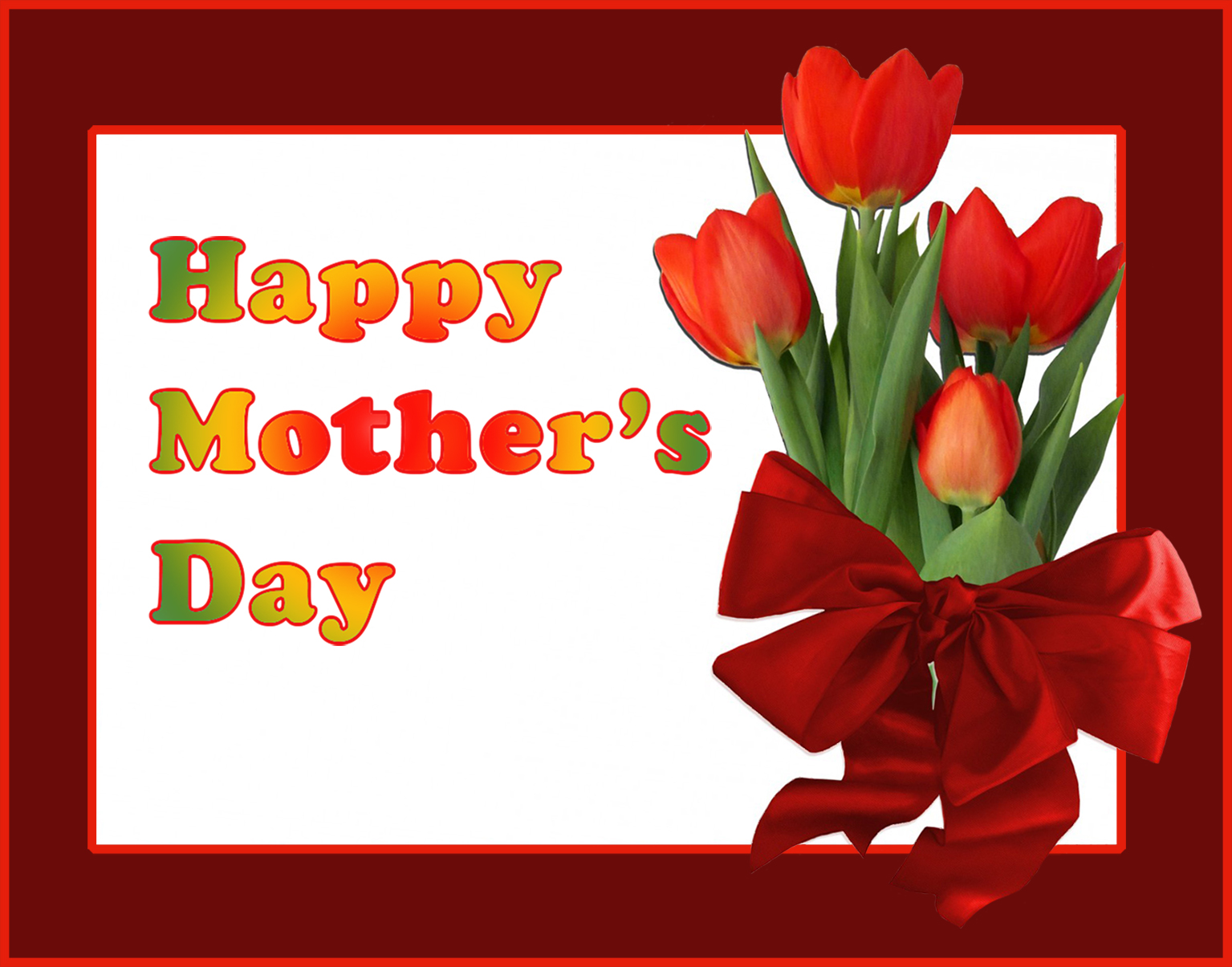 Mother's day greeting card with tulips