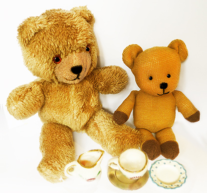 Tea party with two Teddy bear friends