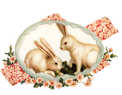 two Easter bunnies with egg and cross of flowers
