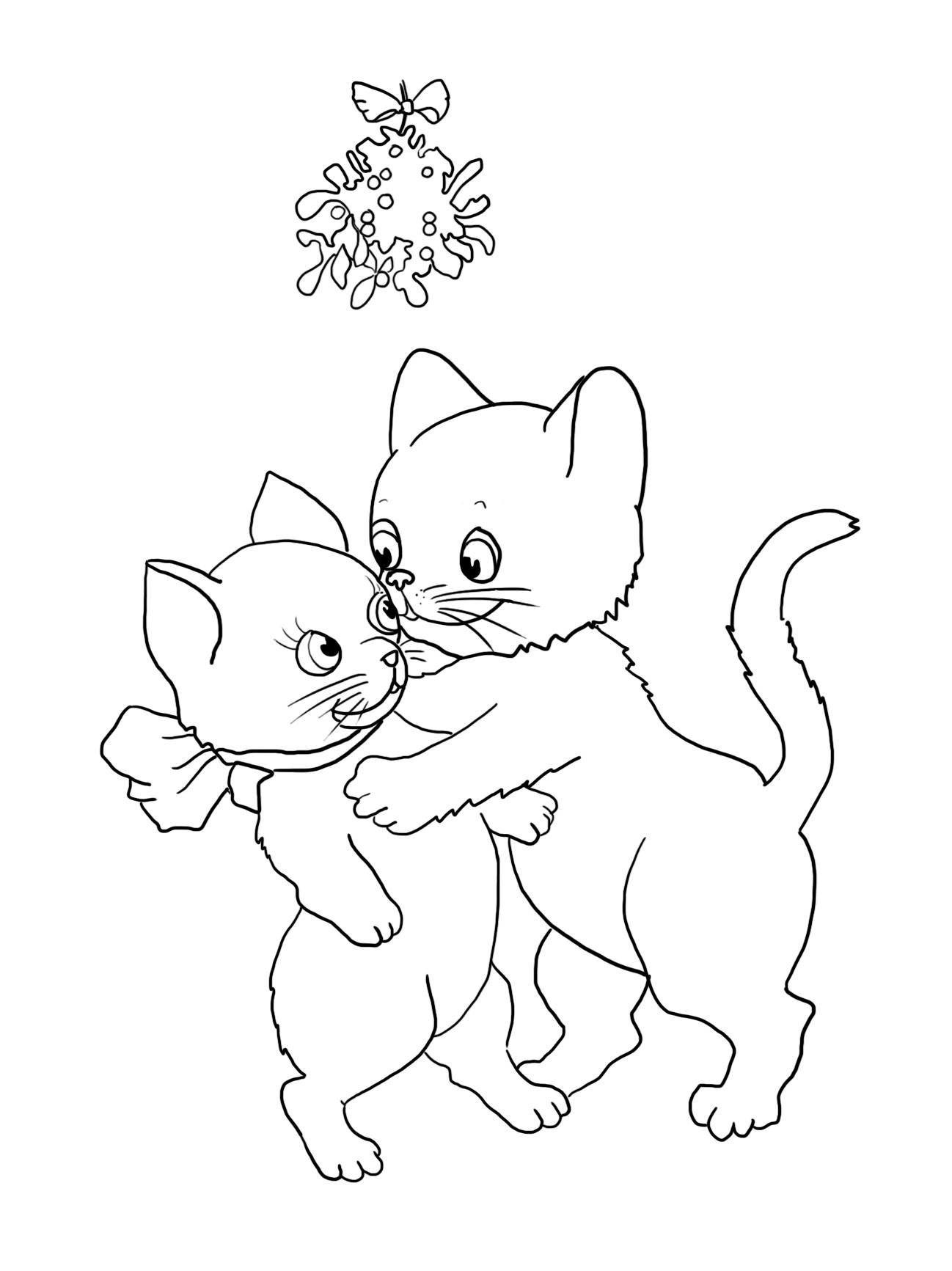 two cats kissing under mistletoe