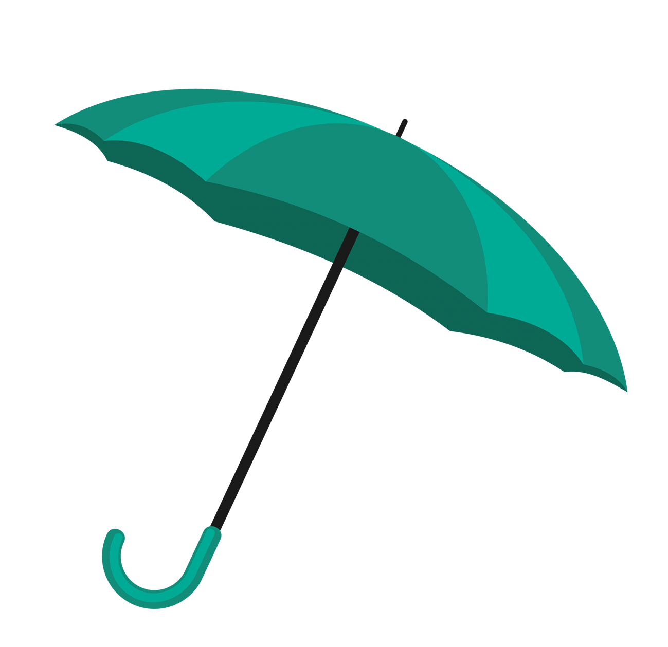 two colored green umbrella