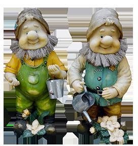 two garden gnomes clipart
