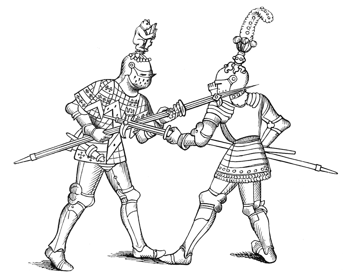 Two medieval knights fighthing