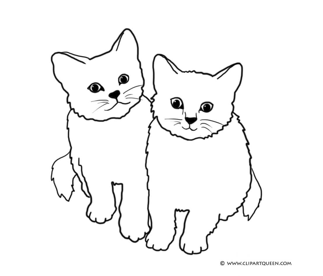 Coloirng Page With Two Little Cats