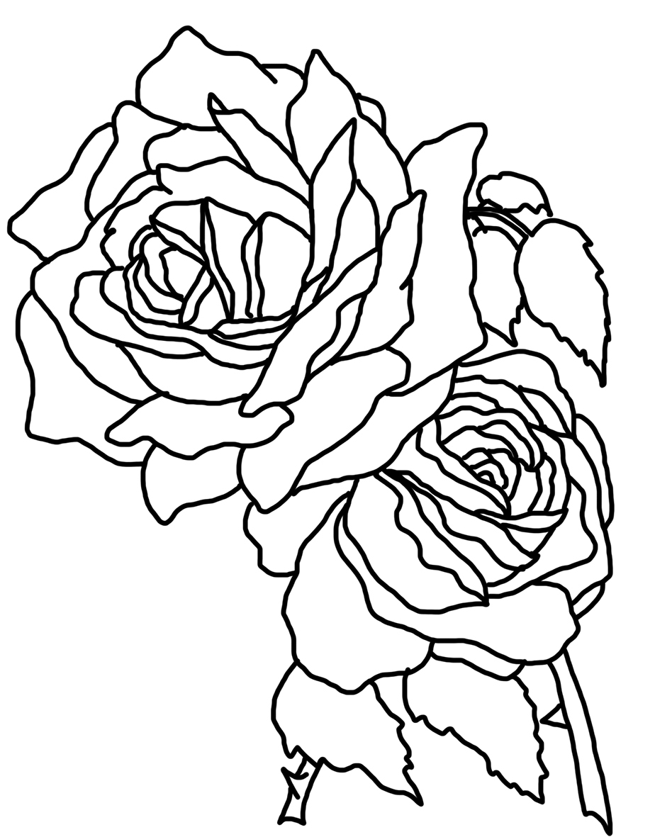 two roses coloring page - Rose Coloring Pages