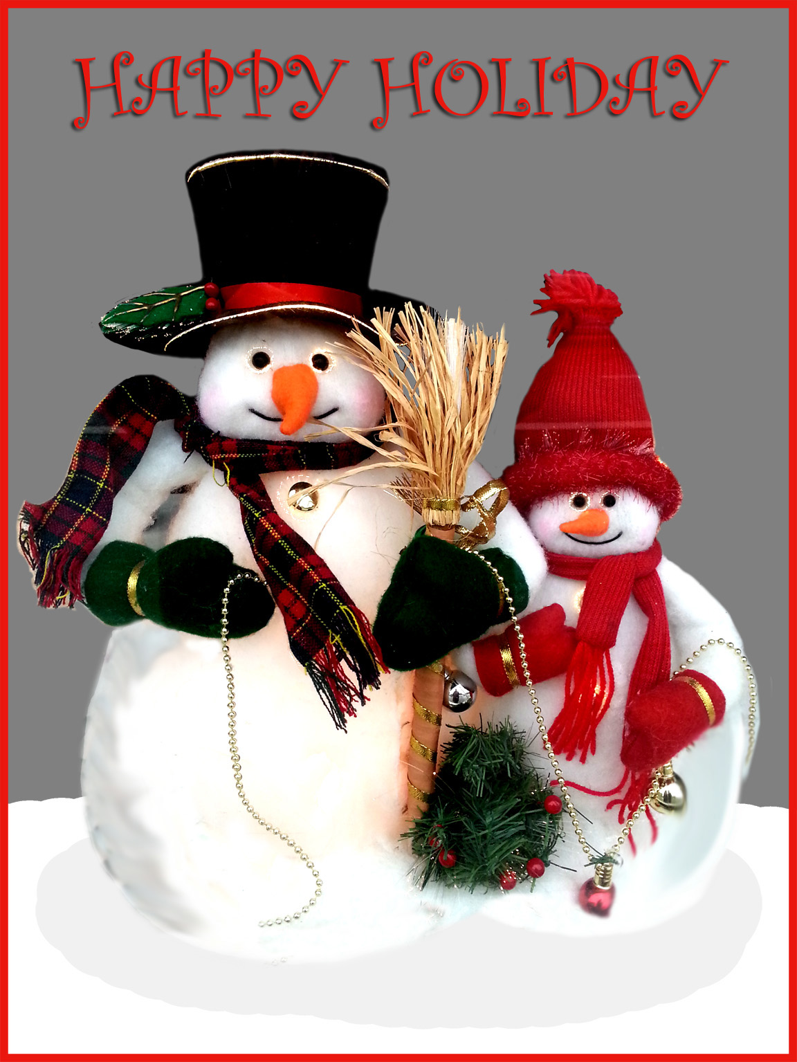 Two snowmen Christmas card greeting