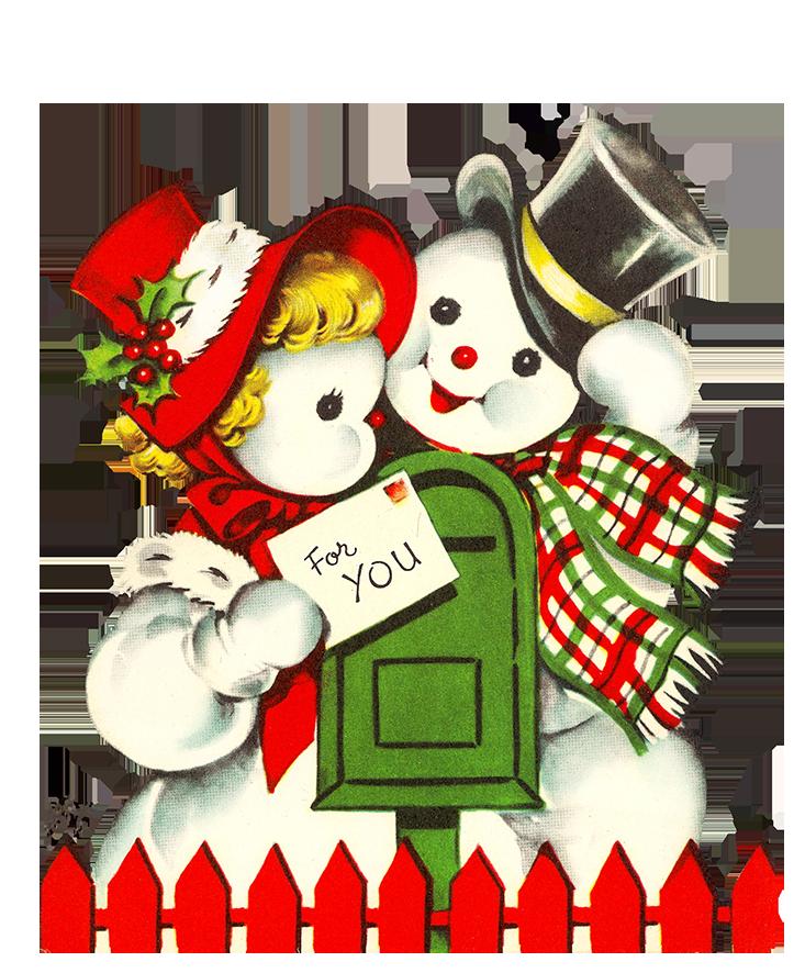 snowmen clip art sending Christmas cards