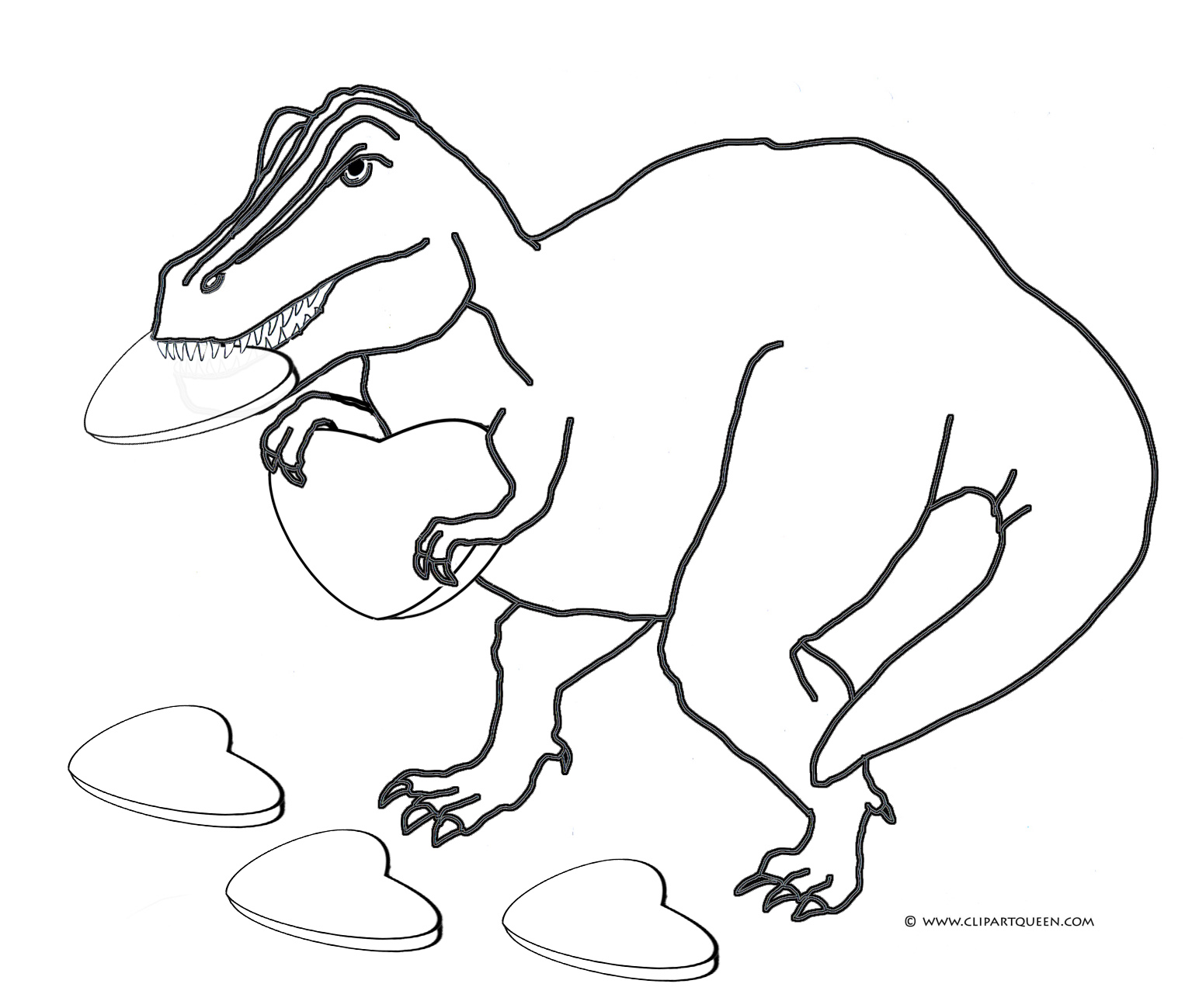 T rex eating a valentine heart