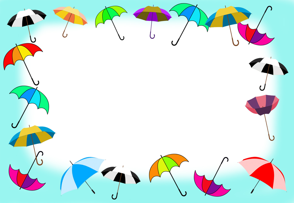 frame with umbrellas and blue sky