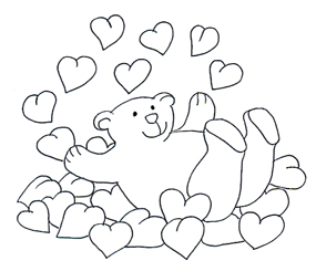 Valentine bear bathing in Valentine hearts