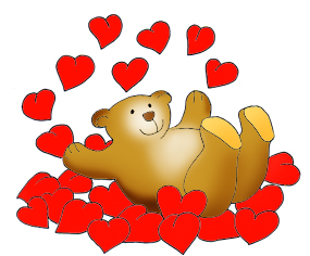 valentine clipart valentines day clipart valentine bear taking a bath in red hearts