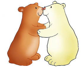 Valentine kiss bear and polar bear