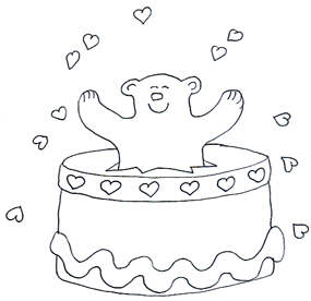 Valentine Day Graphics bear with hearts and cake
