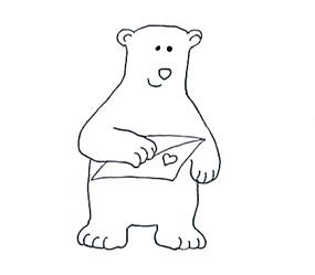 Valentine bear with Valentine card sketch