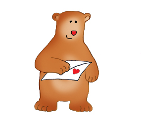 Valentine bear with Valentine card