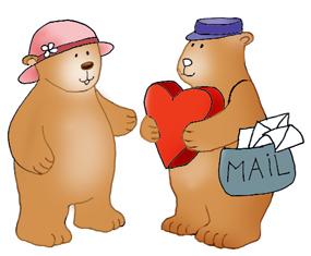 Valentine bear postman letter heart