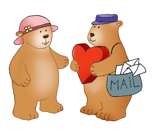 postman with love mail for Valentine's Day