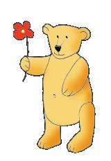 Valentine Teddy with flower red